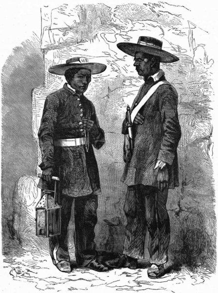 MILITARIA. Mexican Serenos(Night Watchmen) c1880 old antique print picture