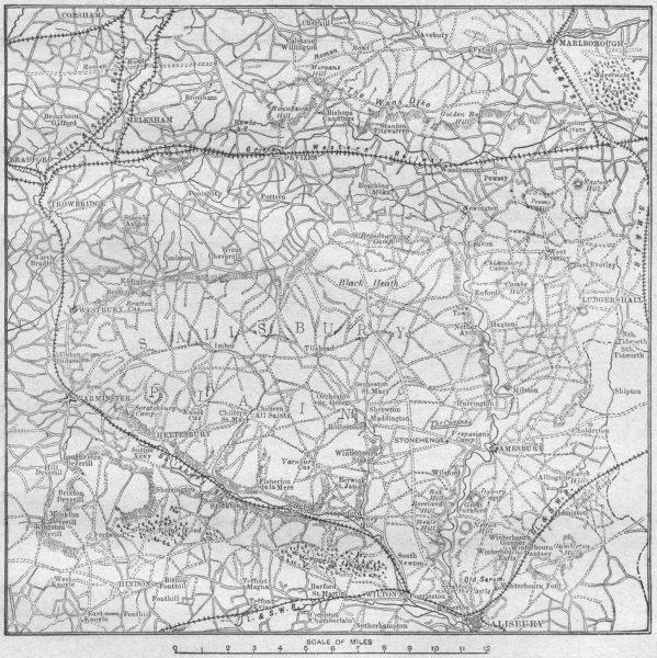 Associate Product WILTS. sketch map Salisbury Plain 1898 old antique vintage plan chart