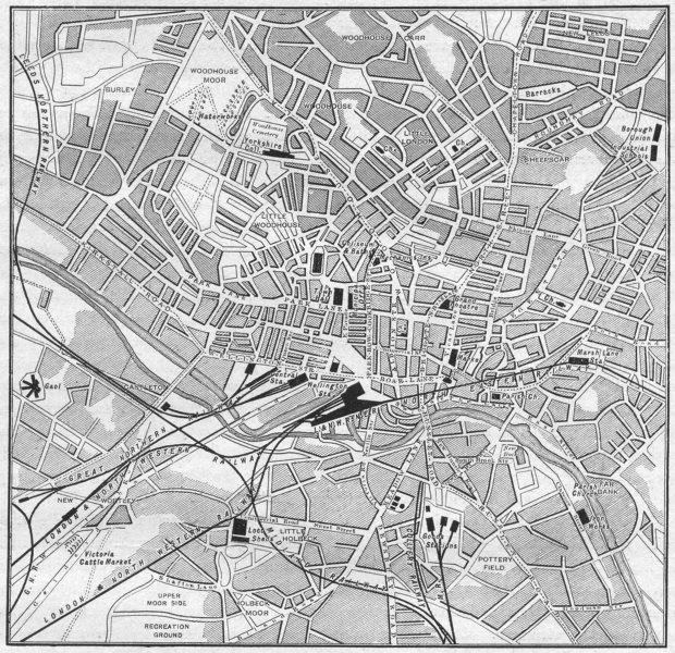 Associate Product YORKS. Leeds, sketch map 1898 old antique vintage plan chart