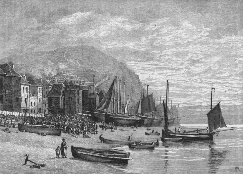 Associate Product HASTINGS. Cinque ports. Fishermen's Quarter 1898 old antique print picture