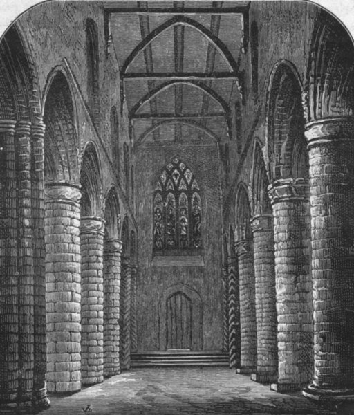 Associate Product SCOTLAND. Dunfermline. Abbey Nave, looking west 1898 old antique print picture