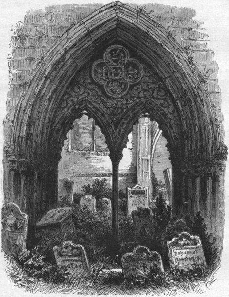 Associate Product LINCS. Crowland. Great door, Abbey 1898 old antique vintage print picture