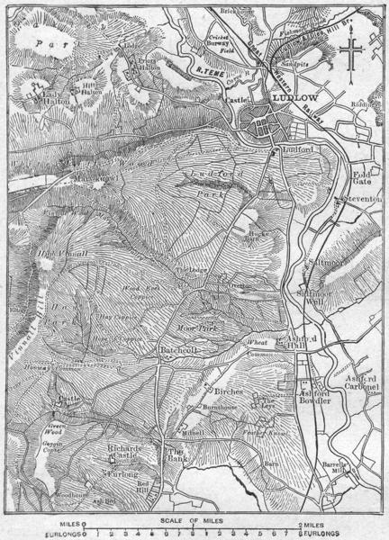 Associate Product SHROPS. Ludlow, sketch map 1898 old antique vintage plan chart