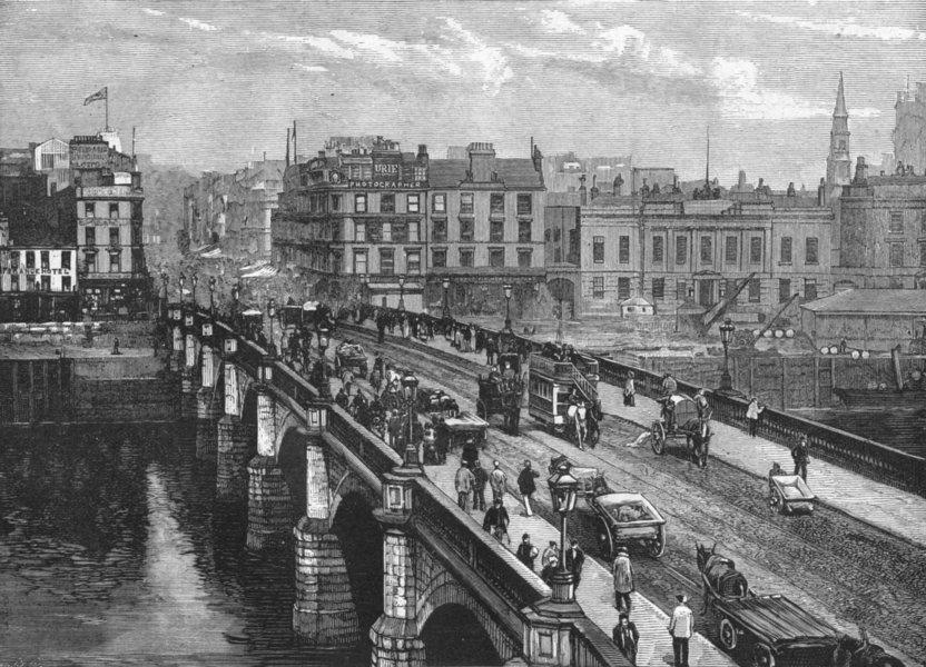 SCOTLAND. Clyde. Broomielaw bridge, Glasgow 1898 old antique print picture