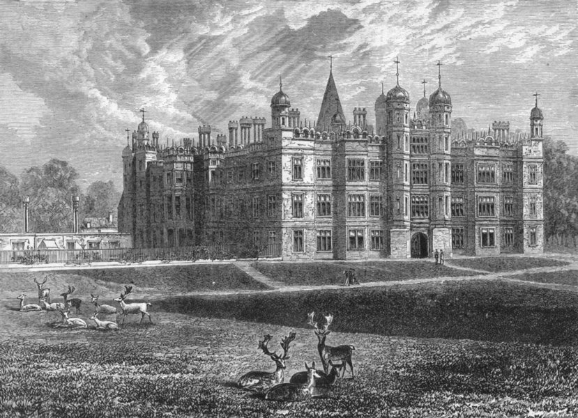 Associate Product CAMBS. Burghley. House 1898 old antique vintage print picture