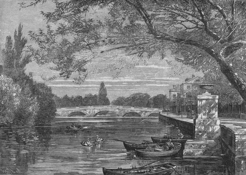 YORKS. Bridge, Ouse, Bedford 1898 old antique vintage print picture