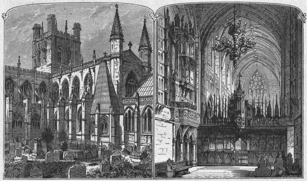 Associate Product CHESHIRE. Chester. cathedral 1898 old antique vintage print picture
