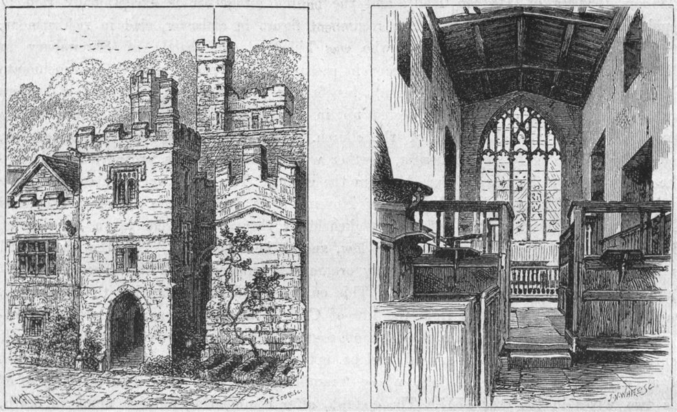 Associate Product DERBYS. Haddon Hall. Entry to Banqueting; Chapel 1898 old antique print