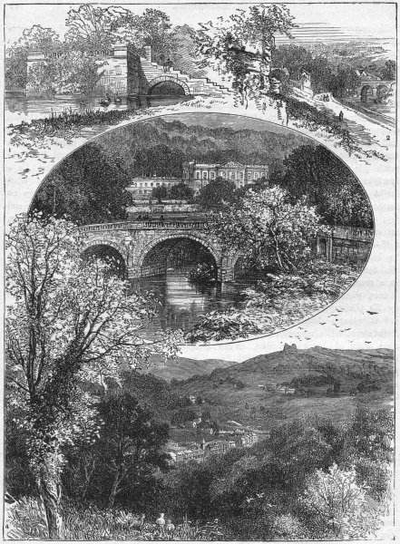 Associate Product CHATSWORTH. Mary Queen Scots Bower; Matlock bridge;  1898 old antique print