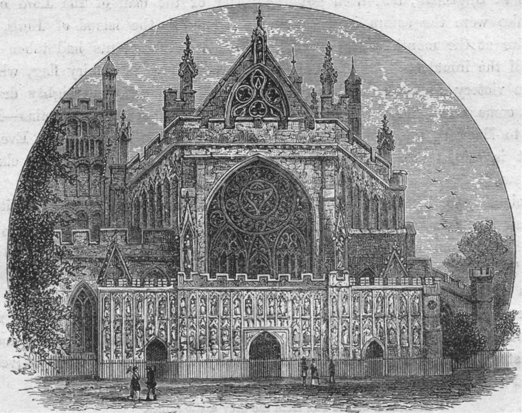 Associate Product DEVON. Exeter. cathedral  1898 old antique vintage print picture