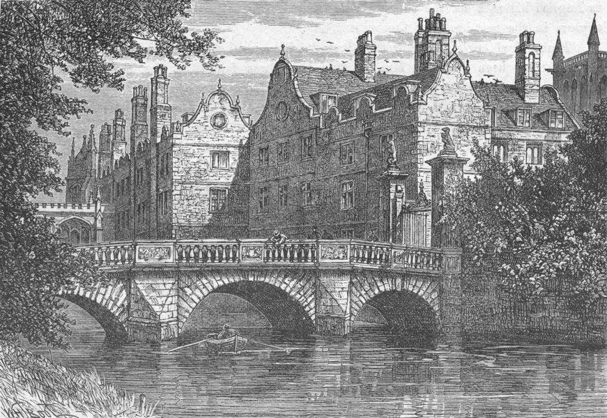 Associate Product CAMBS. Cambridge. Bridge, St John's College 1898 old antique print picture