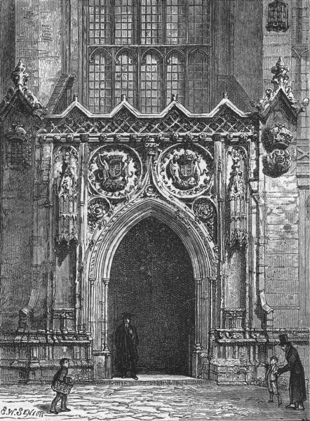 Associate Product CAMBS. Cambridge. Door of King's College Chapel 1898 old antique print picture