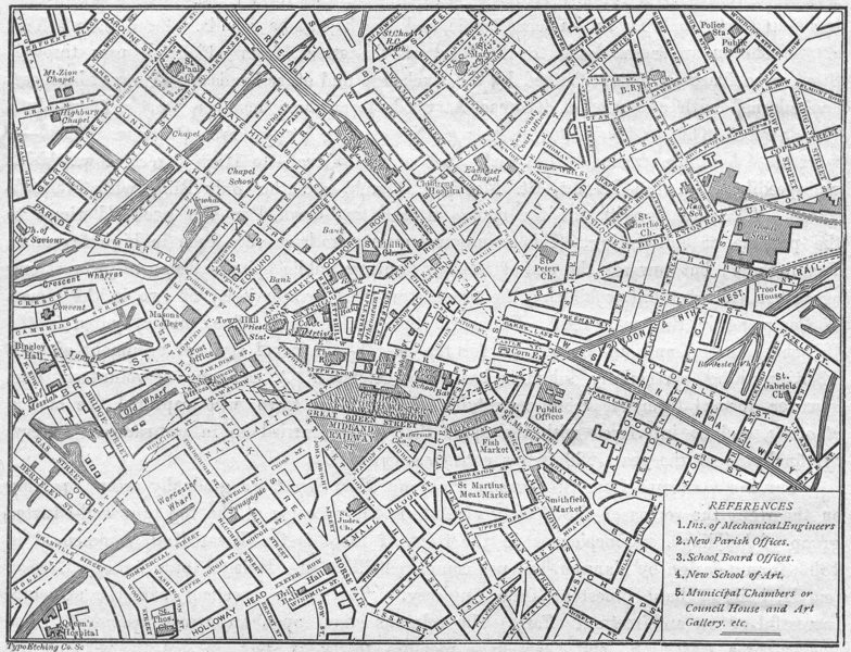 Associate Product WARCS. Birmingham. Centre, sketch map 1898 old antique vintage plan chart