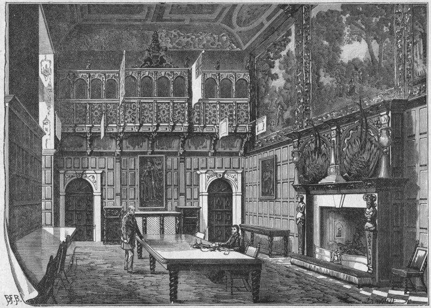 Associate Product HERTS. Hatfield House. Dining-Hall 1898 old antique vintage print picture