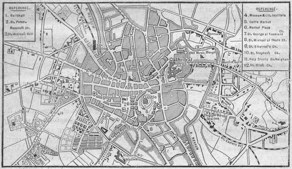 Associate Product NORFOLK. Norwich, sketch map 1898 old antique vintage plan chart
