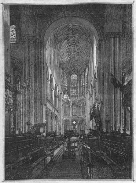 Associate Product NORFOLK. Norwich. cathedral Choir, looking east 1898 old antique print picture