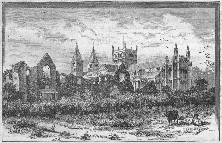 Associate Product NOTTS. Southwell Minster & ruins, palace 1898 old antique print picture