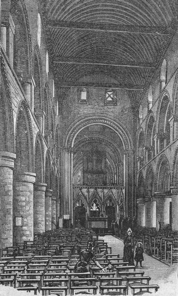 Associate Product NOTTS. Nave, Southwell Minster 1898 old antique vintage print picture