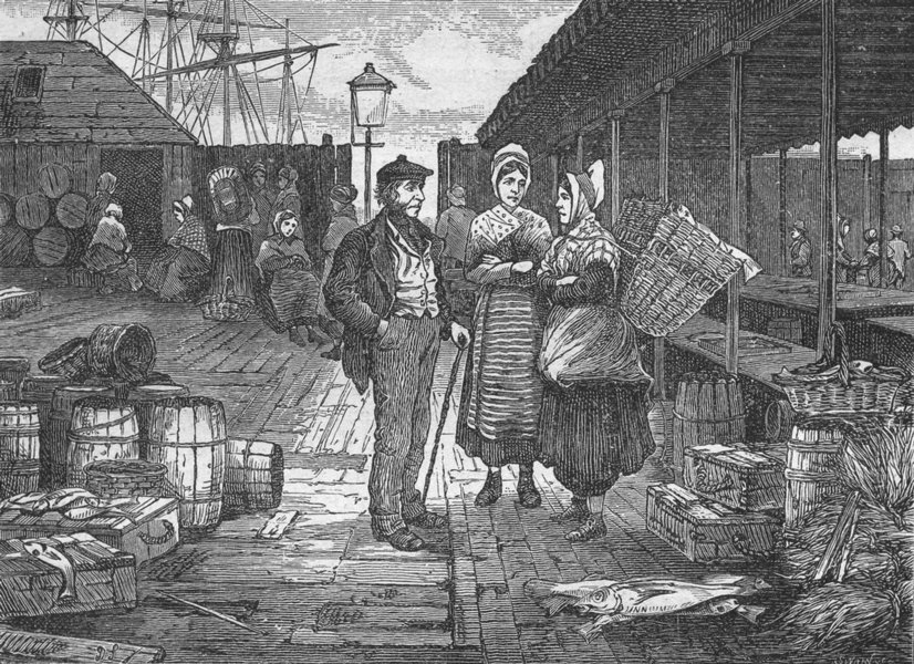 Associate Product SCOTLAND. Aberdeen. Fish Market 1898 old antique vintage print picture