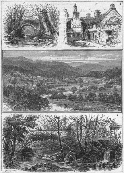 Associate Product DOLGELLY. Torrent Walk; Glendower Parliament House;  1898 old antique print