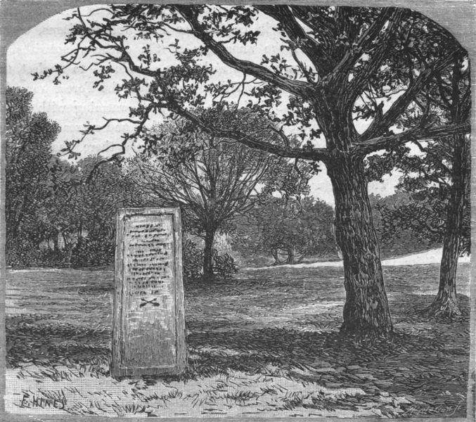 Associate Product HANTS. New Forest. Rufus Stone 1898 old antique vintage print picture