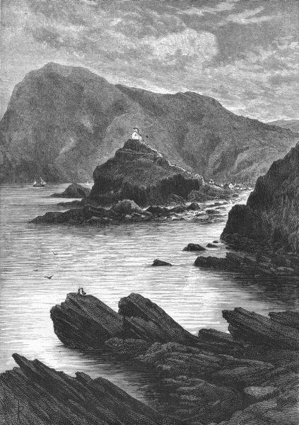 Associate Product ILFRACOMBE. view rocks at base of Capstone 1898 old antique print picture