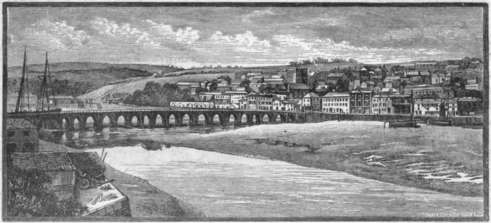 Associate Product DEVON. Bideford bridge at low tide 1898 old antique vintage print picture