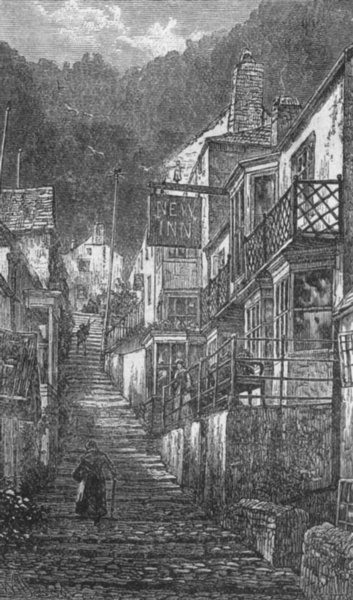 Associate Product DEVON. Street of Clovelly 1898 old antique vintage print picture