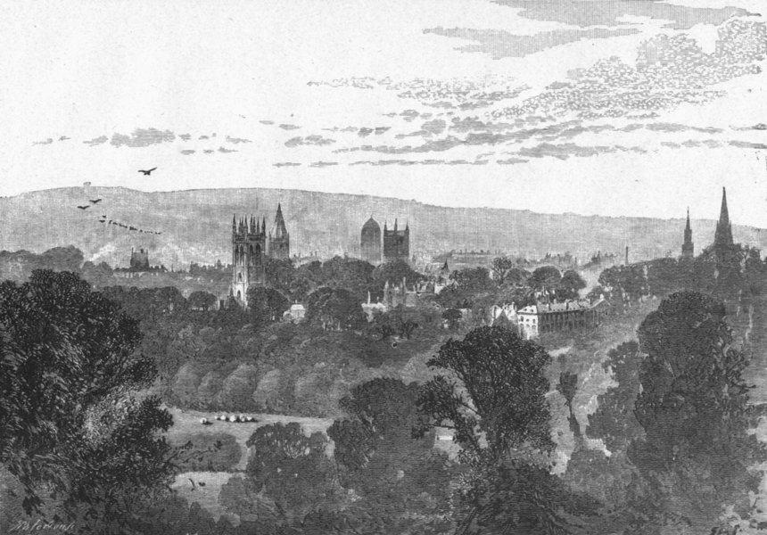 Associate Product OXON. Oxford. from Headington Hill 1898 old antique vintage print picture