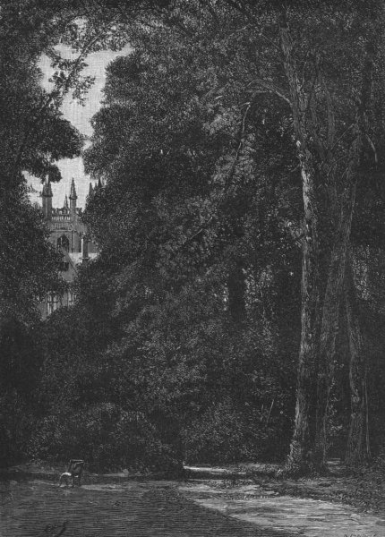 Associate Product OXON. Oxford. Tower of Merton, garden 1898 old antique vintage print picture
