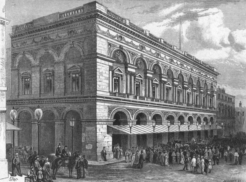 Associate Product LANCS. Manchester. Free Trade Hall 1898 old antique vintage print picture