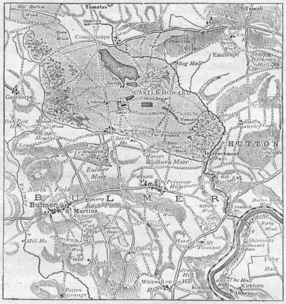 Associate Product YORKS. Castle Howard. Park, sketch map 1898 old antique vintage plan chart