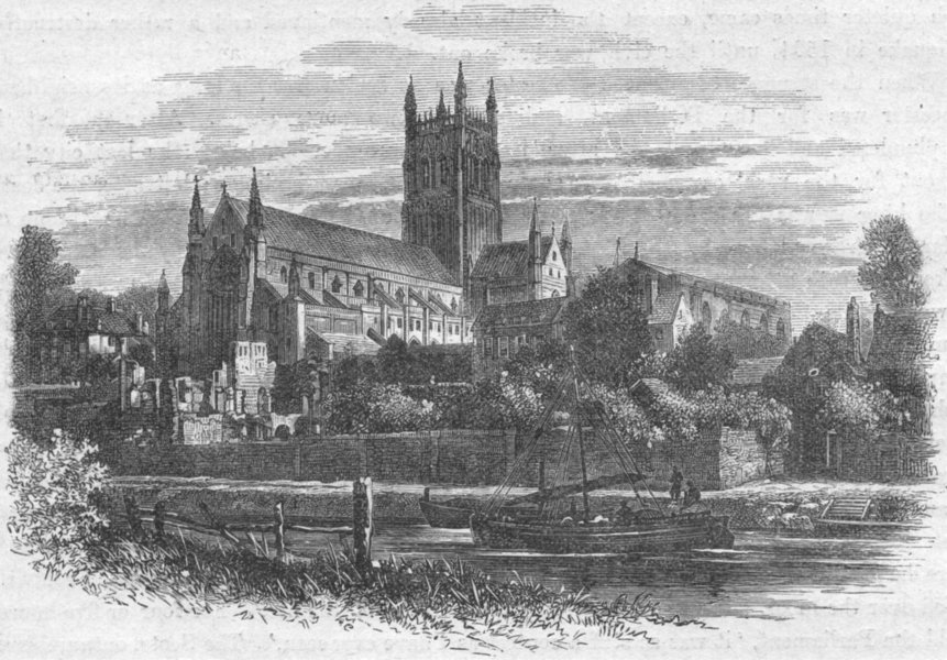 Associate Product WORCS. Worcester cathedral, river 1898 old antique vintage print picture