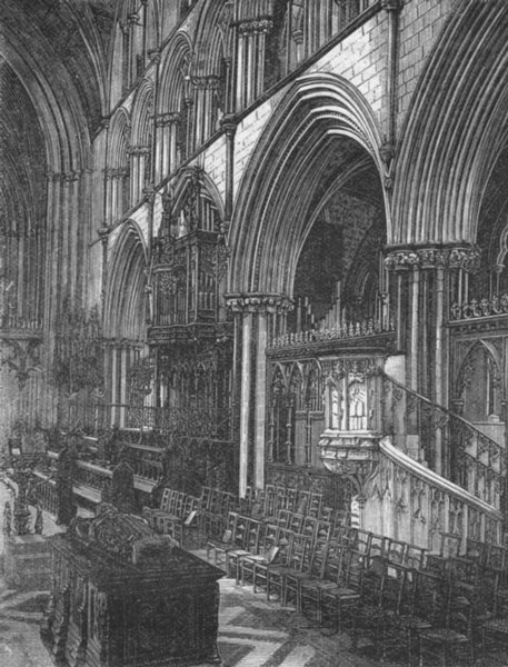 Associate Product WORCS. Choir of Worcester cathedral 1898 old antique vintage print picture
