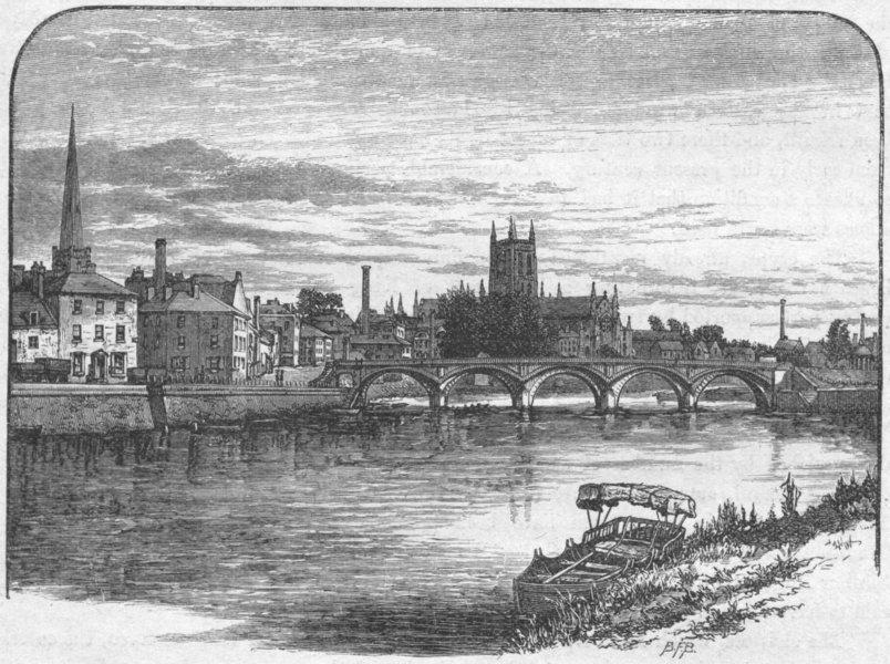 Associate Product WORCS. Worcester, rail bridge 1898 old antique vintage print picture