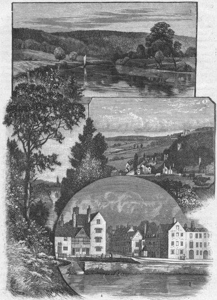 Associate Product WORCS. Severn in Wyre; Shrawley; Quatford; Bewdley 1898 old antique print