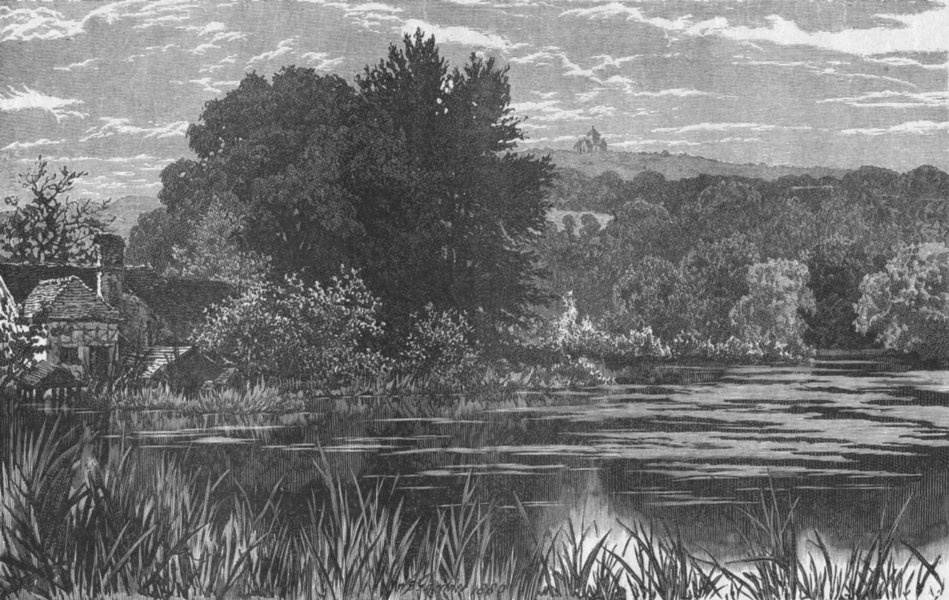 Associate Product GUILDFORD. St Martha's, from Lower Postford Pond 1898 old antique print