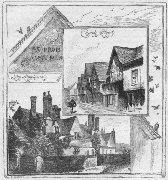 Associate Product AUDLEY END SAFFRON WALDEN. Almshouses; Church St 1898 old antique print