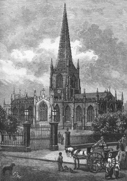 Associate Product YORKS. Sheffield. Parish Church 1898 old antique vintage print picture