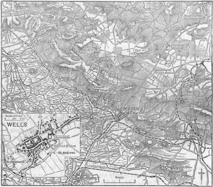 Associate Product SOMT. Wells, sketch map 1898 old antique vintage plan chart