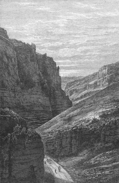 SOMT. High rocks at Cheddar 1898 old antique vintage print picture