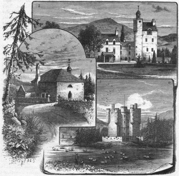 Associate Product ABERGELDIE. Castle; Crathie Parish Church; Braemar 1898 old antique print