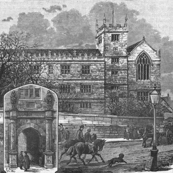 Associate Product SHROPS. Shrewsbury. door; Grammar School 1898 old antique print picture