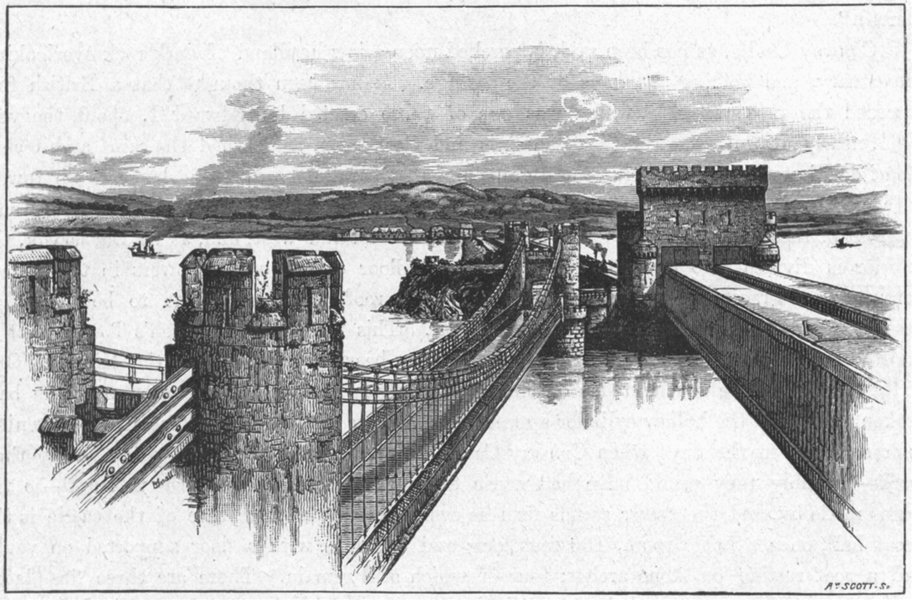 Associate Product CONWY CASTLE. Valley of Conway. Bridges, from 1898 old antique print picture