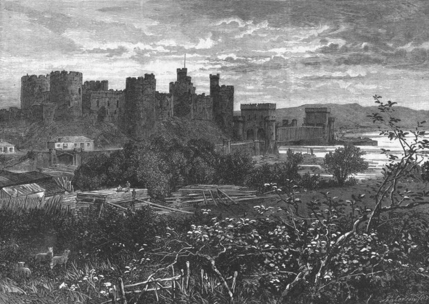 Associate Product CONWY CASTLE. Valley of Conway. road to Llanrwst 1898 old antique print