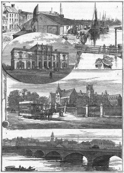 Associate Product BELFAST. Quay; Presbyterian; Methodist; Queen's Brdg 1898 old antique print