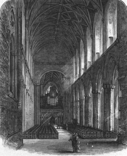 Associate Product YORKS. Nave, Ripon Minster, looking east 1898 old antique print picture
