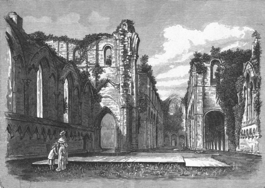 Associate Product YORKS. Fountains Abbey 1898 old antique vintage print picture
