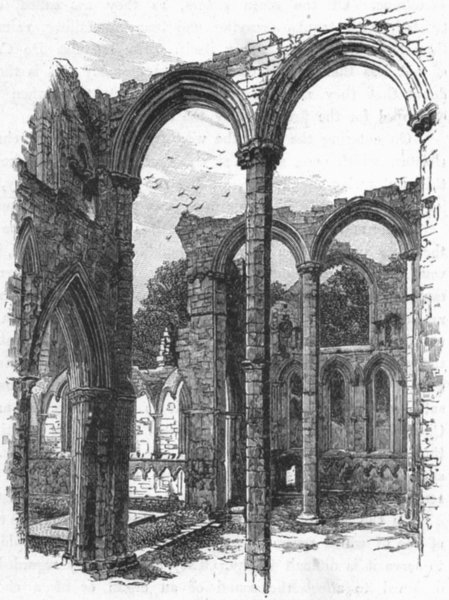 Associate Product YORKS. Transept, Fountains Abbey 1898 old antique vintage print picture