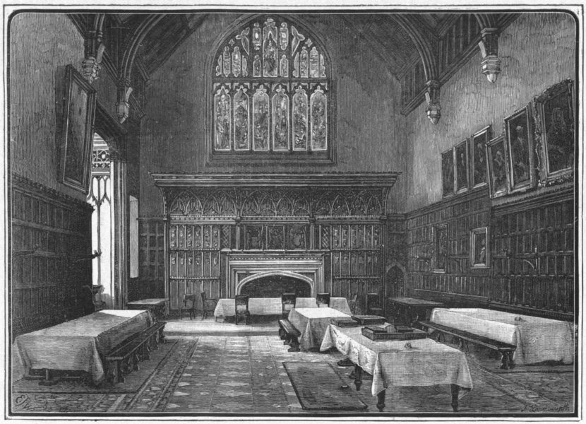 Associate Product BERKS. Eton. Dining-Hall 1898 old antique vintage print picture